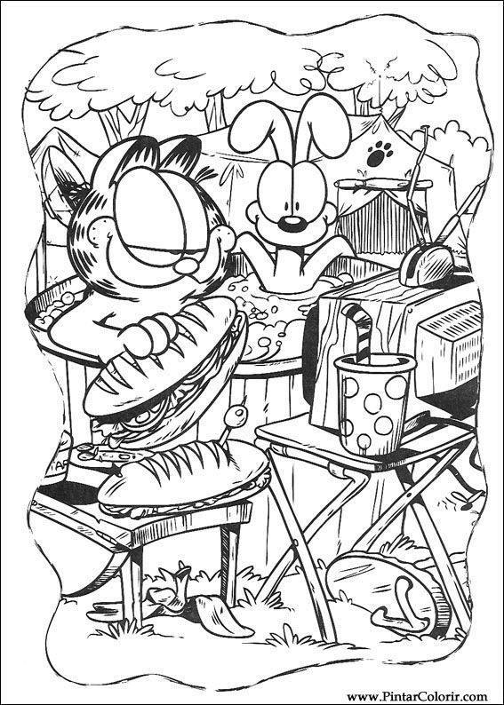 Dibujos para pintar y color Garfield - Diseño de impresión 029
