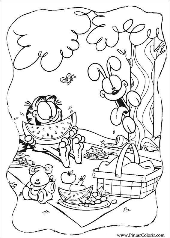 Dibujos para pintar y color Garfield - Diseño de impresión 045