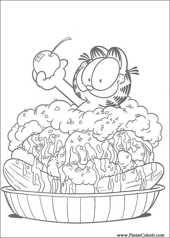 Dibujos para pintar y color Garfield - Diseño de impresión 064