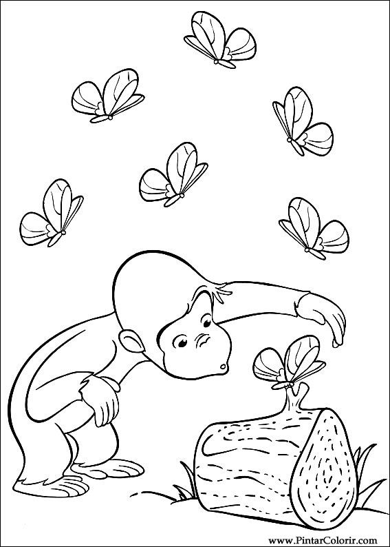 Drawings To Paint & Colour Curious George - Print Design 019