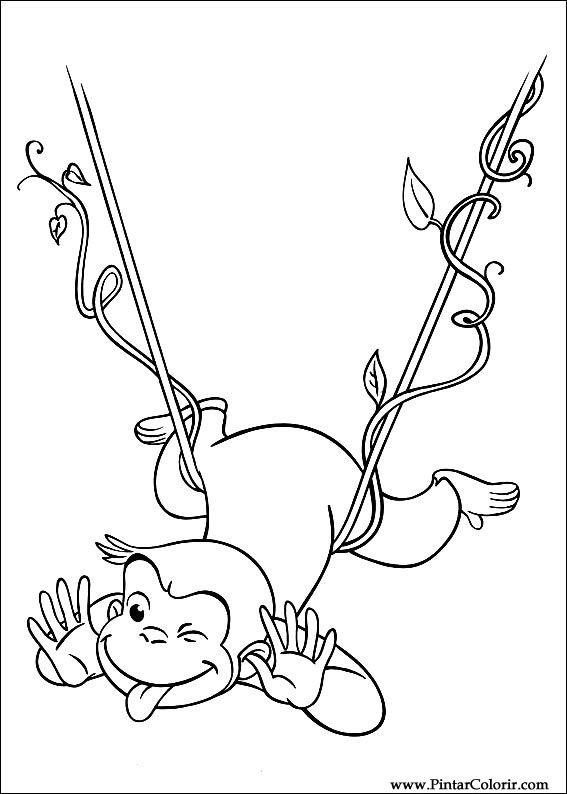 Dibujos para pintar y Color George curioso - Diseño de impresión 028