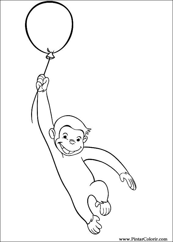 Drawings To Paint Colour Curious George Print Design 029