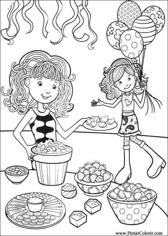 çizimler Boya Ve Renk Groovy Kızlar Için Baskı Tasarım 017