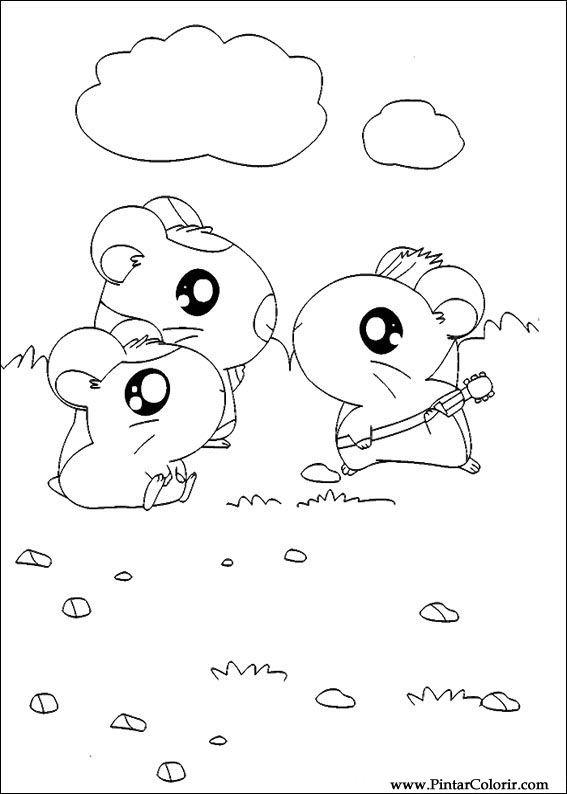 Pintar e Colorir Hamtaro - Desenho 024