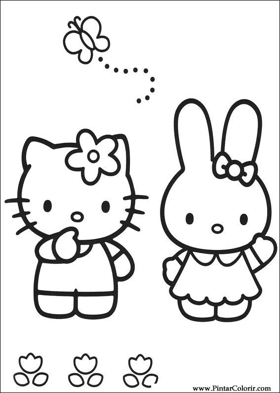 çizimler Boya Ve Renk Hello Kitty Için Baskı Tasarım 006