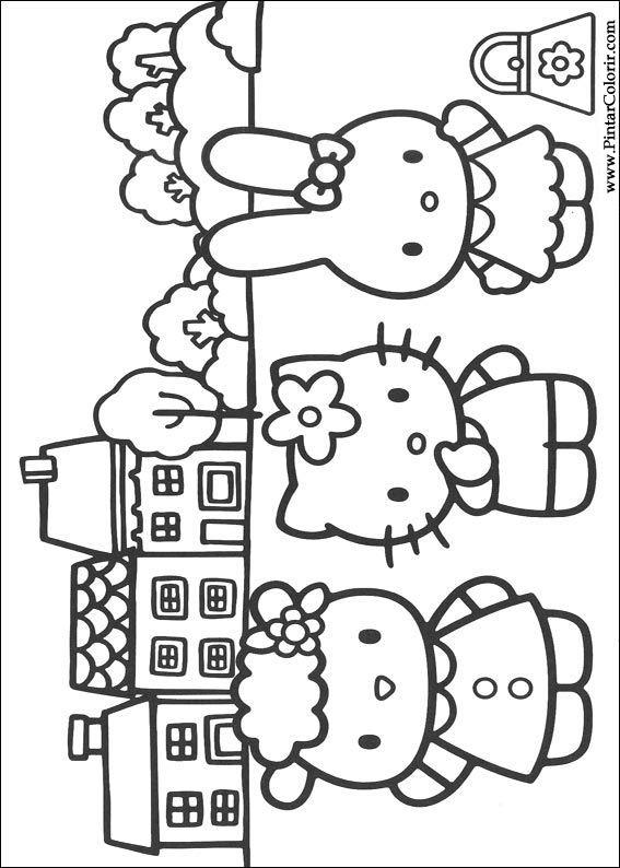 Hello Kitty Kleurplaten Om Te Printen.Tekeningen Te Schilderen Colour Hello Kitty Print Design 009