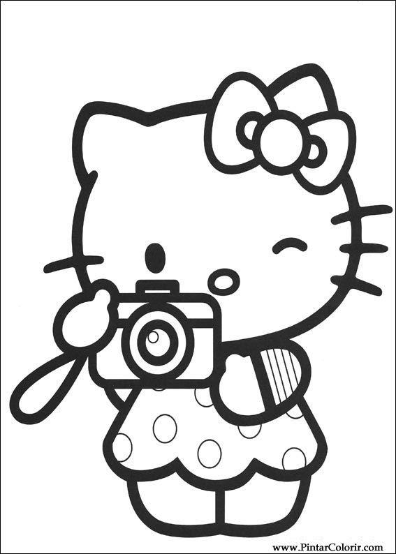 Dibujos para pintar y Color Hello Kitty - Diseño de impresión 010