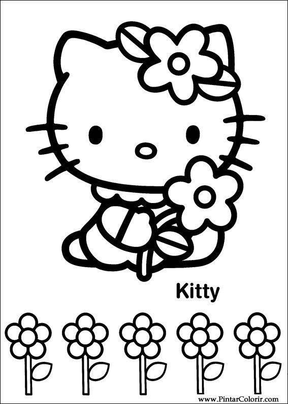 çizimler Boya Ve Renk Hello Kitty Için Baskı Tasarım 015