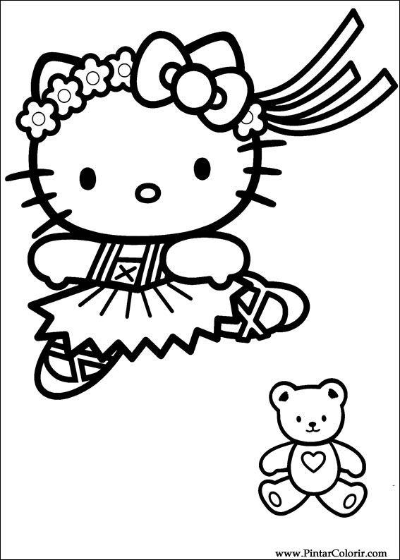 рисунки рисовать и цвет Hello Kitty полиграфический дизайн 016