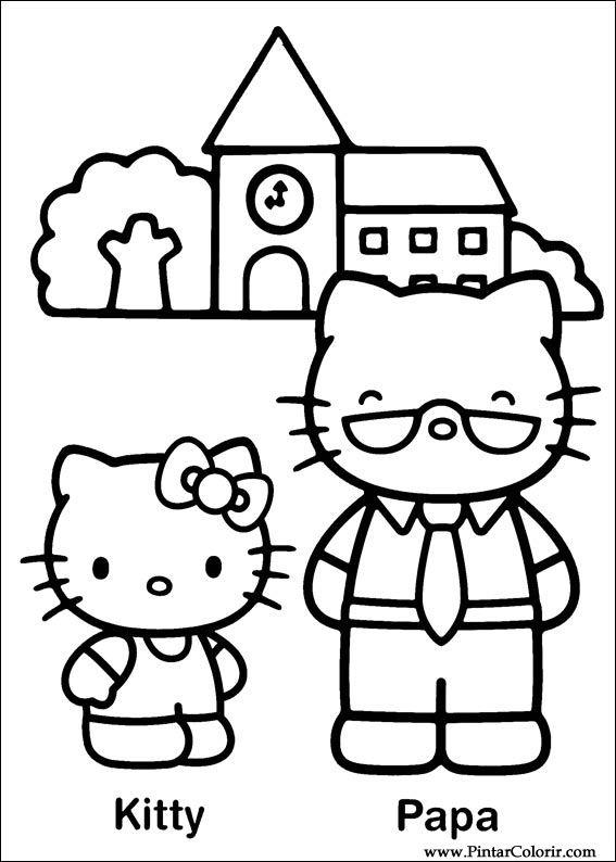 Hello Kitty Kleurplaten Om Te Printen.Tekeningen Te Schilderen Colour Hello Kitty Print Design 019