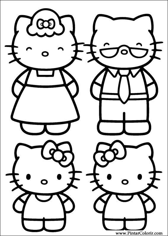 Tekeningen Te Schilderen Colour Hello Kitty Print Design 022