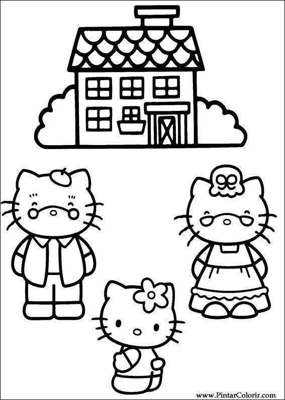 çizimler Boya Ve Renk Hello Kitty Için Baskı Tasarım 025