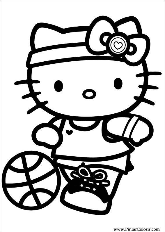 Dibujos para pintar y Color Hello Kitty - Diseño de impresión 037