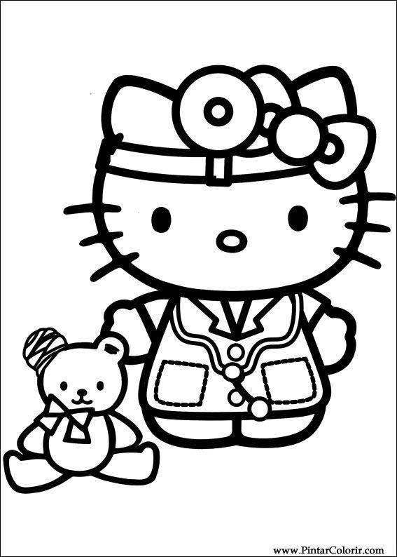 Dibujos para pintar y Color Hello Kitty - Diseño de impresión 038