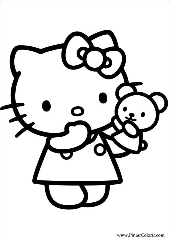 Dibujos Para Pintar Y Color Hello Kitty Diseño De
