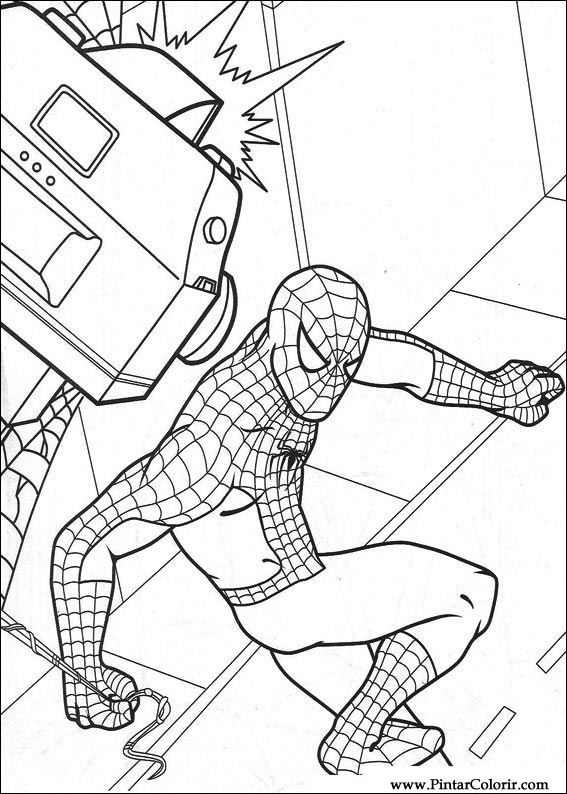 Drawings To Paint & Colour Spiderman - Print Design 003