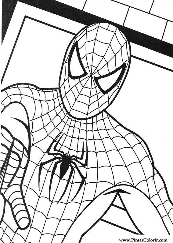 Gratis Kleurplaten Spiderman.Tekeningen Te Schilderen Kleur Spiderman Print Design 012