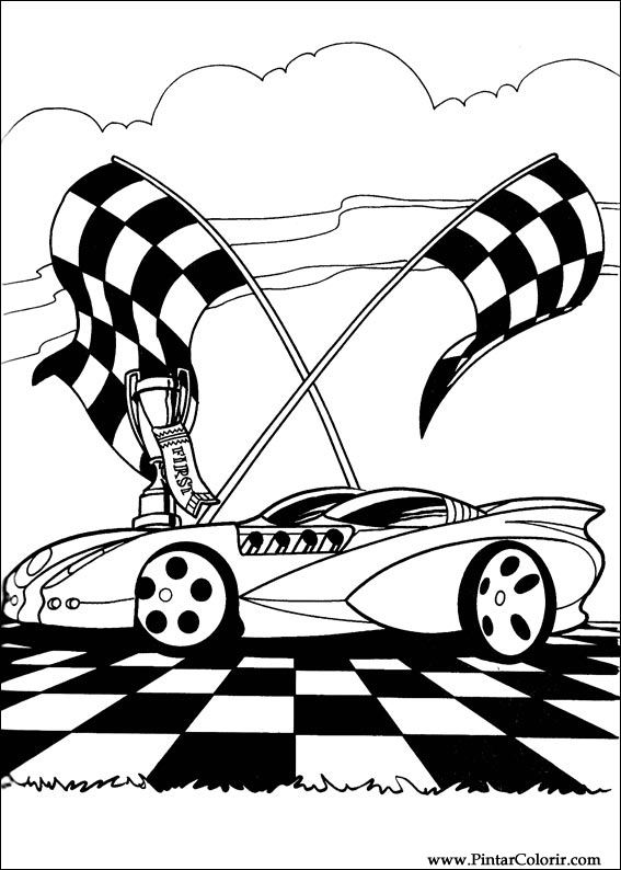 Drawings To Paint Colour Hot Wheels Print Design 042