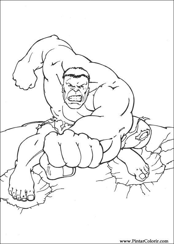 Dibujos Para Pintar Y Colorear Hulk Diseño De Impresión 016