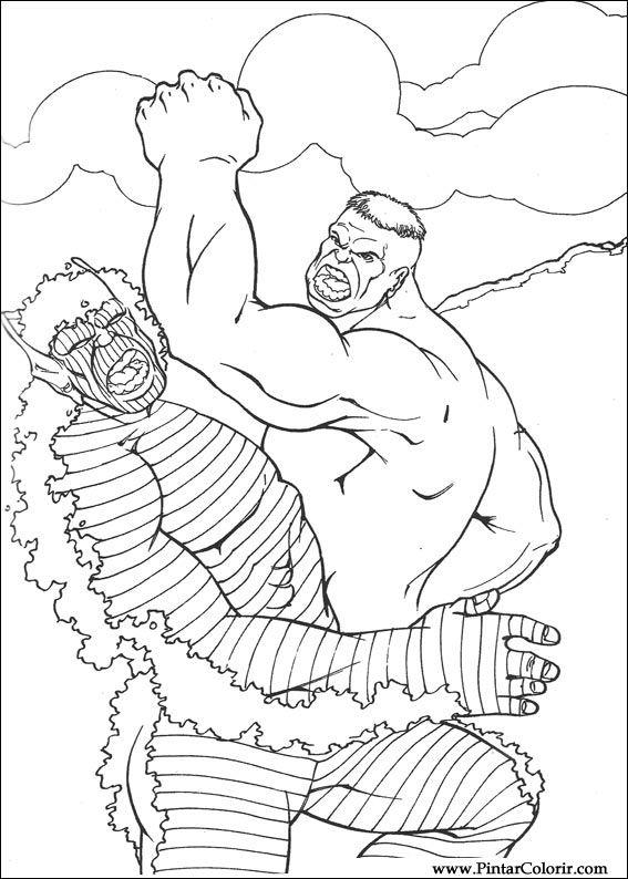 Dibujos Para Pintar Y Colorear Hulk Diseño De Impresión 064