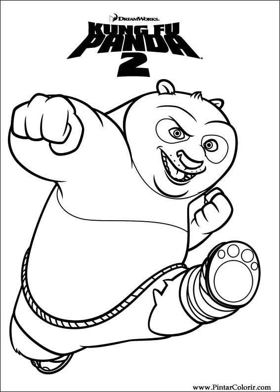 Dibujos para pintar y Color Kung Fu Panda 2 - Diseño de impresión 001