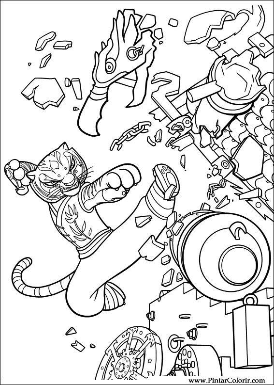 Dibujos para pintar y Color Kung Fu Panda 2 - Diseño de impresión 021