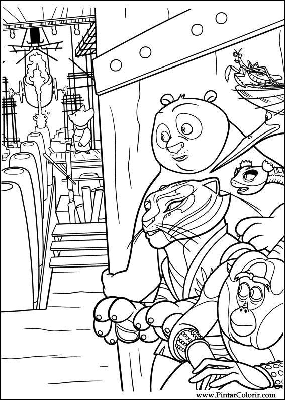 Dibujos para pintar y Color Kung Fu Panda 2 - Diseño de impresión 029