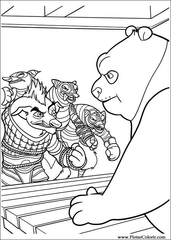 Dibujos para pintar y Color Kung Fu Panda 2 - Diseño de impresión 034