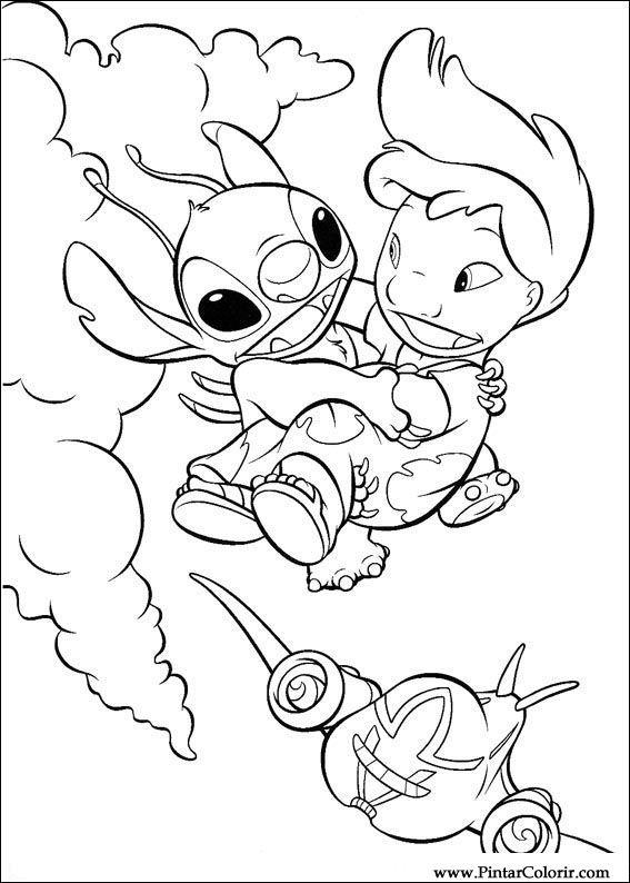 Dibujos Para Pintar Y Color Lilo Y Stitch Diseno De Impresion 021