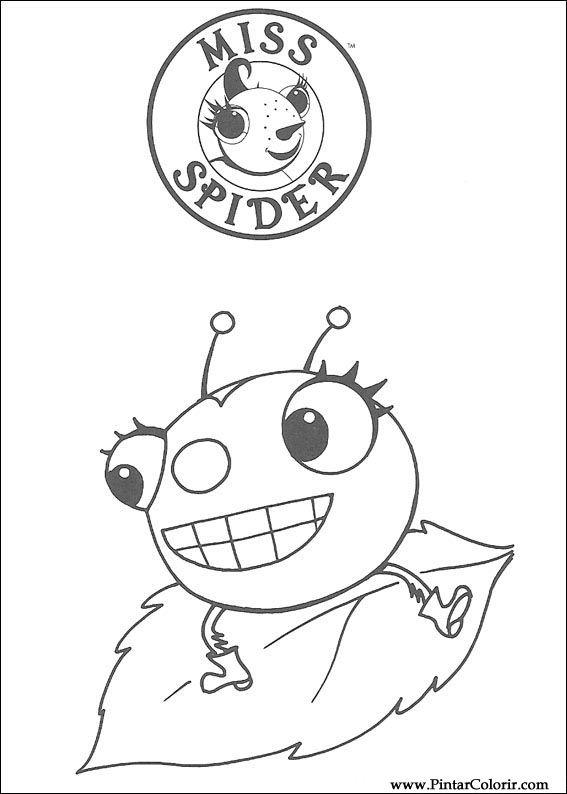 Pintar e Colorir Miss Spider - Desenho 001
