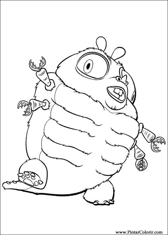 Dibujos para pintar & Colour Monstruos Aliens - Imprimir Diseño 008