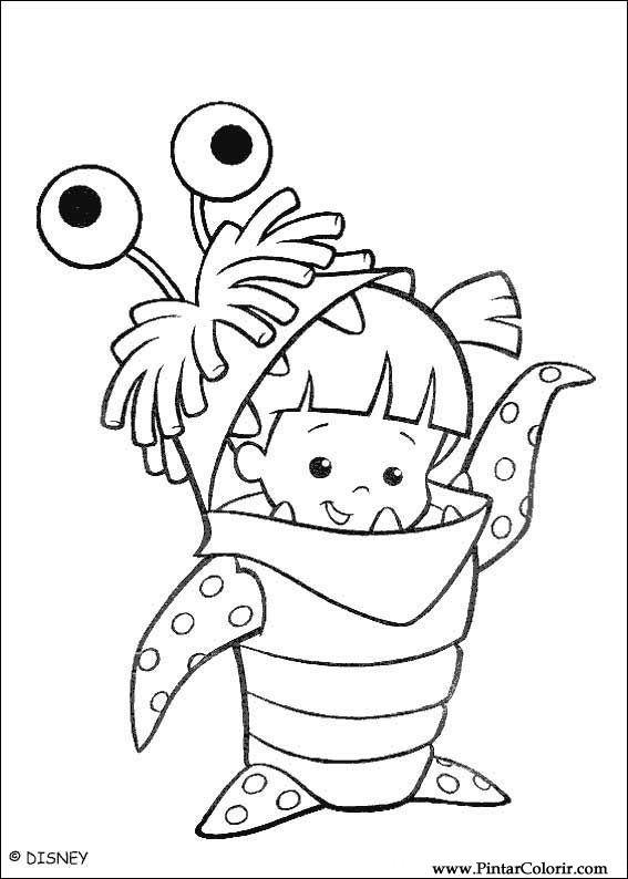 Dibujos para pintar y Color Monsters, Inc. - Diseño de impresión 018