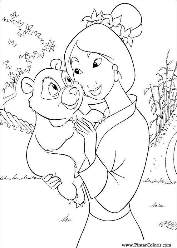 Dibujos para pintar y Color Mulan   Diseño de impresión 057