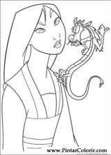 Pintar e Colorir Mulan - Desenho 017