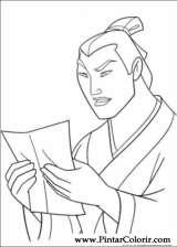 Pintar e Colorir Mulan - Desenho 018