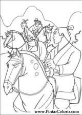 Pintar e Colorir Mulan - Desenho 022
