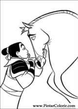 Pintar e Colorir Mulan - Desenho 040