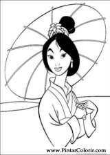 Pintar e Colorir Mulan - Desenho 058