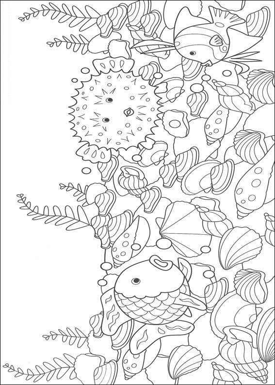 Dibujos para pintar y Color El Pez Arco Iris - Diseño de impresión 006