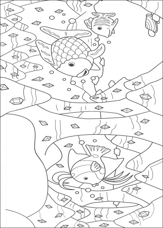 Dibujos para pintar y Color El Pez Arco Iris - Diseño de impresión 007