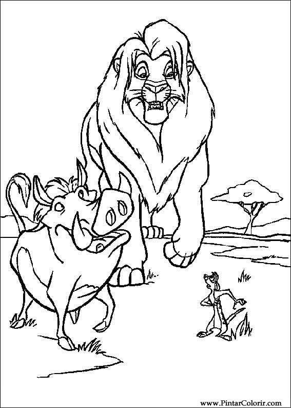 Dibujos Para Pintar Y Color Rey León 3 Diseño De Impresión 006