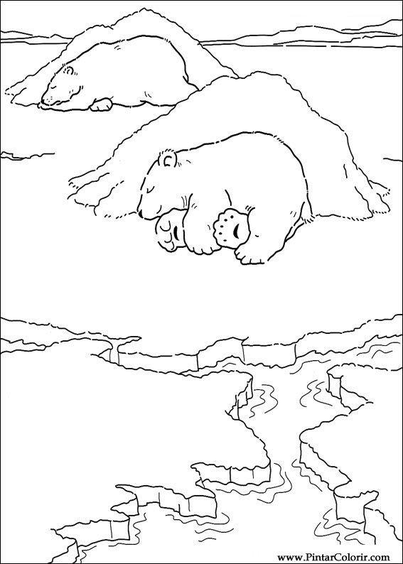 Dibujos para pintar y Color Oso Polar - Diseño de impresión 038
