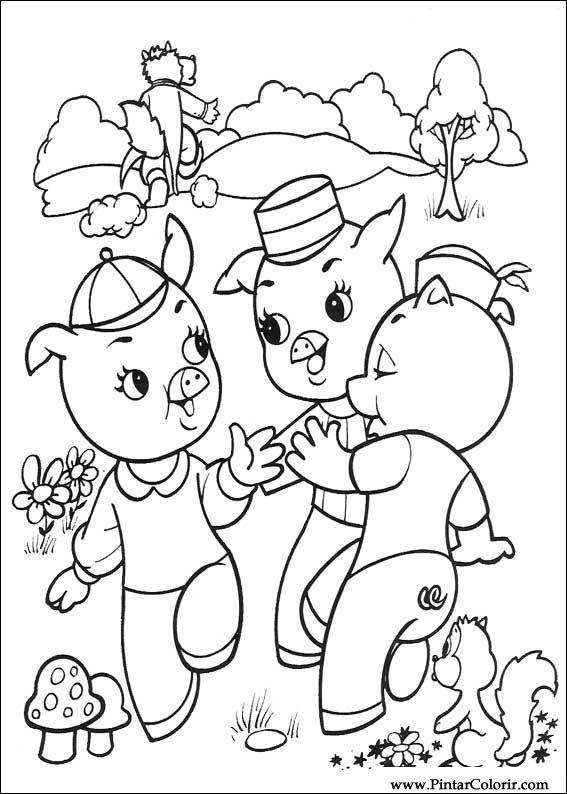 Desenhos Para Pintar E Colorir Os Tres Porquinhos Imprimir