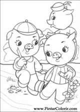 Pintar e Colorir Os Tres Porquinhos - Desenho 001