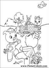 Pintar e Colorir Os Tres Porquinhos - Desenho 004