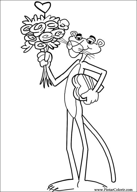 Dibujos para pintar y color pantera rosa color - Diseño de impresión 005