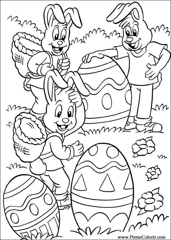 Tekeningen Te Schilderen Kleur Pasen Print Design 053