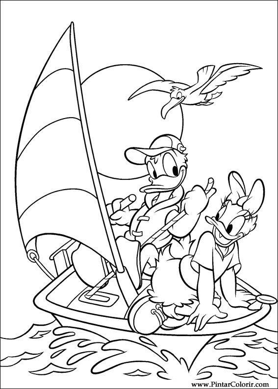 Dibujos para pintar y Color Donald Duck - Diseño de impresión 007