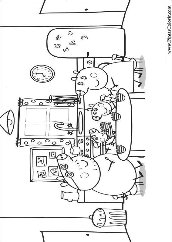 Dibujos Para Pintar Y Color Peppa Pig Diseño De Impresión 007