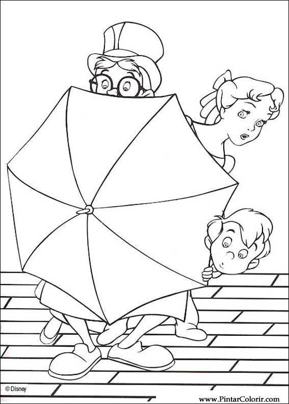 Dibujos para pintar y Color Peter Pan - Diseño de impresión 008